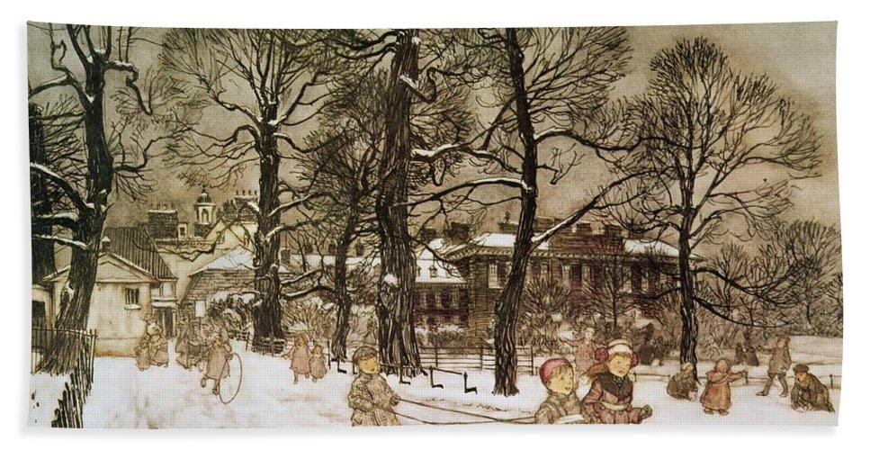 Arthur Rackham Bath Towel featuring the drawing Winter In Kensington Gardens by Arthur Rackham