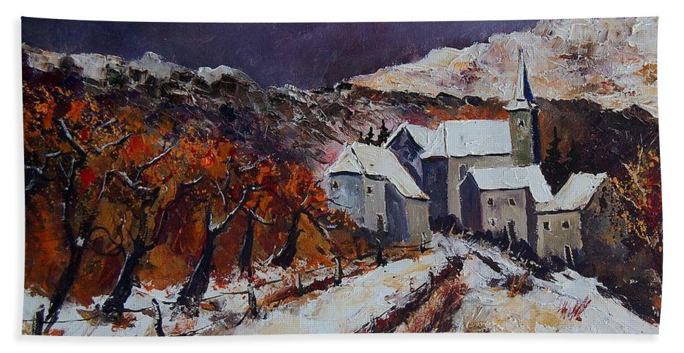 Winter Bath Towel featuring the painting Winter In Luxembourg by Pol Ledent