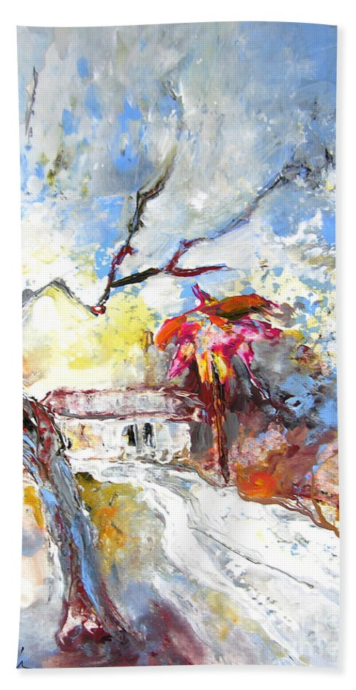 Spain Hand Towel featuring the painting Winter In Spain by Miki De Goodaboom