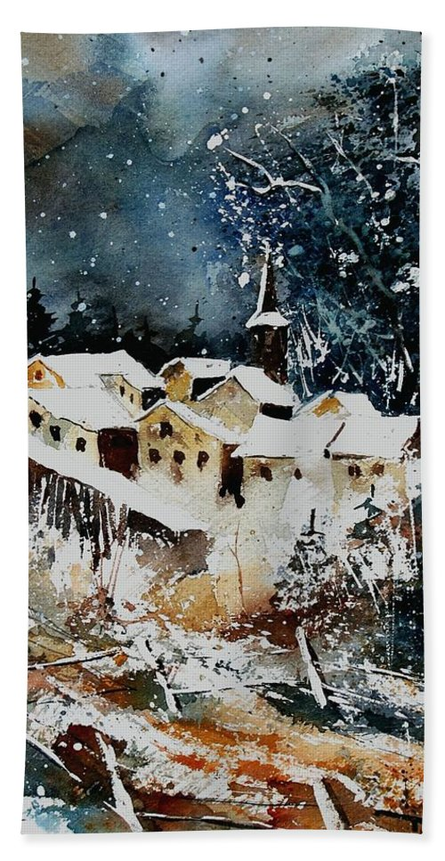 Winter Hand Towel featuring the painting Winter In Vivy by Pol Ledent