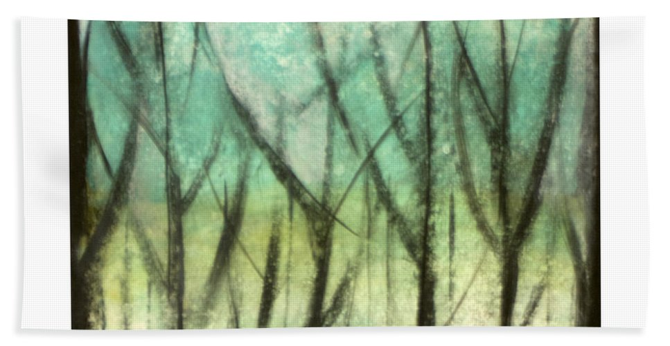 Trees Bath Towel featuring the painting Winter Into Spring by Tim Nyberg