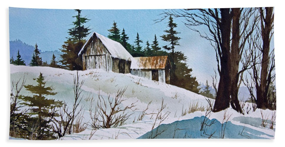 Winter Bath Sheet featuring the painting Winter Landscape by James Williamson