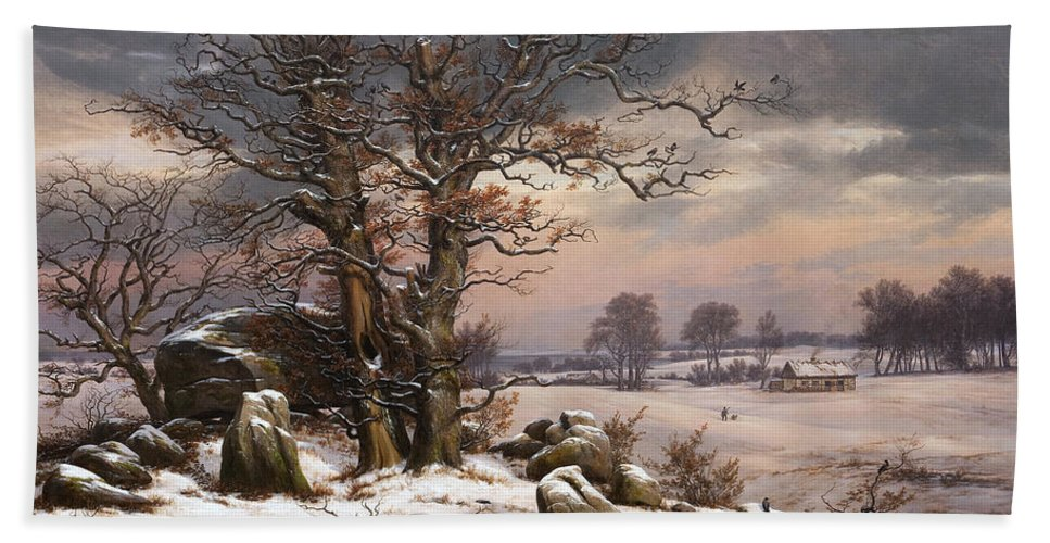 Johan Christian Dahl Hand Towel featuring the painting Winter Landscape. Near Vordingborg by Johan Christian Dahl