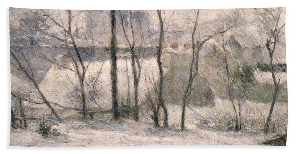 Trees Hand Towel featuring the painting Winter Landscape by Paul Gauguin