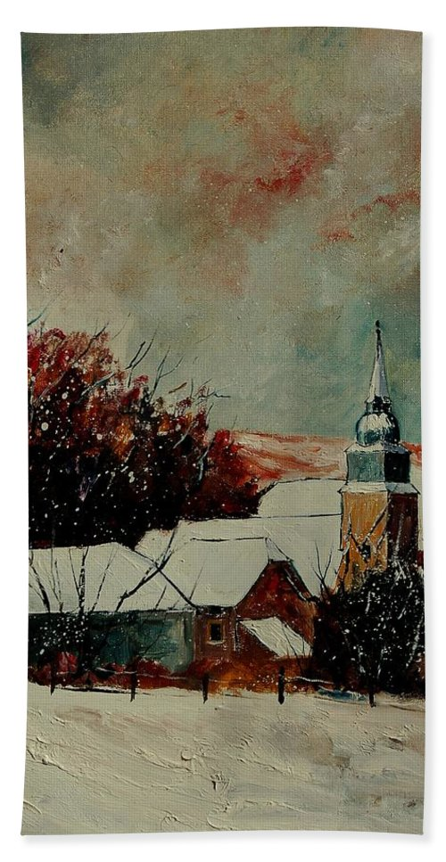 Winter Hand Towel featuring the painting Winter Landscape by Pol Ledent