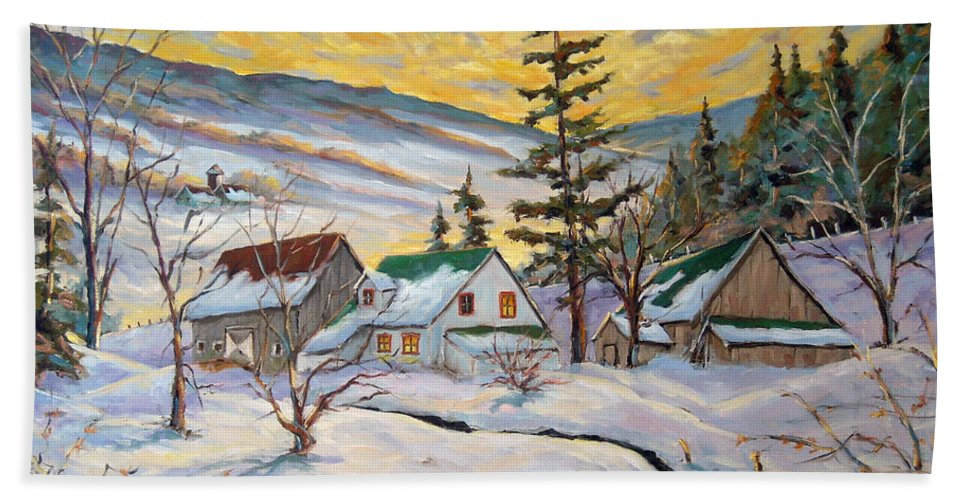 Landscape Bath Sheet featuring the painting Winter Lights by Richard T Pranke