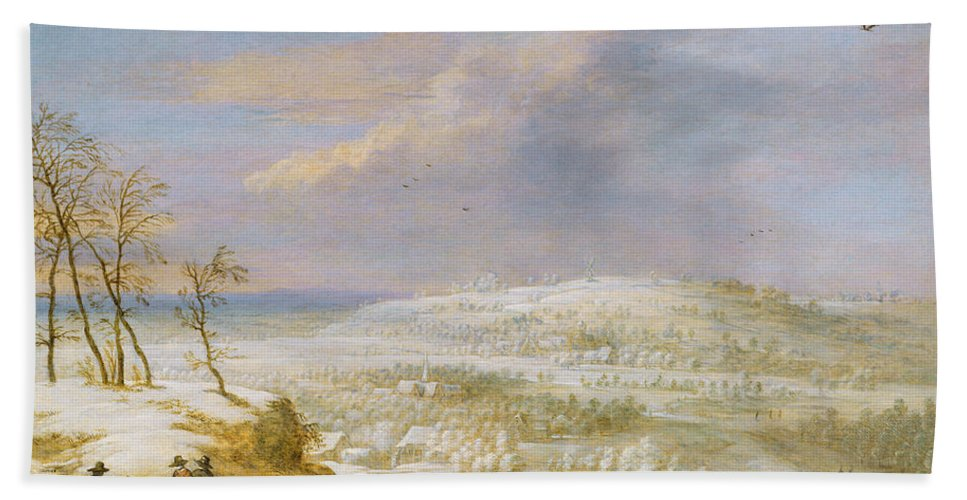 Winter Bath Sheet featuring the painting Winter by Lucas van Uden