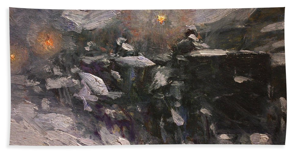 Winter Midnight Bath Sheet featuring the painting Winter Midnight             by Childe Hassam