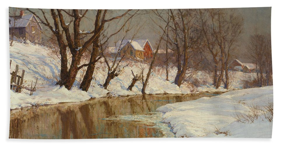Winter Hand Towel featuring the painting Winter Morning by Walter Launt Palmer