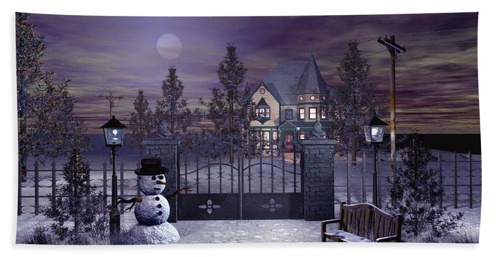 Winter Bath Towel featuring the digital art Winter Night Scene by John Junek