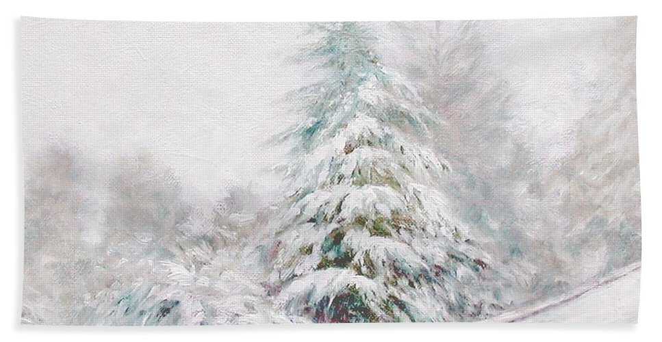 Winter Landscape Hand Towel featuring the painting Winter Of 04 by Jim Gola