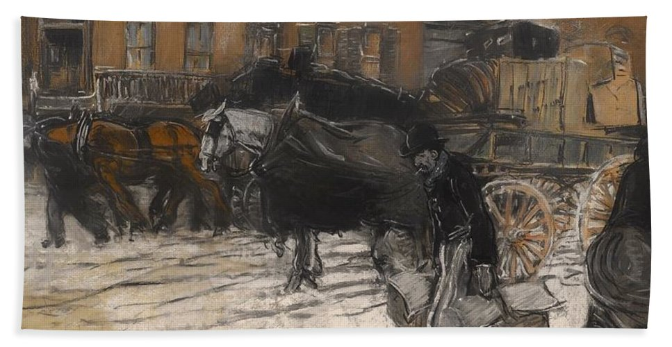 Painting Hand Towel featuring the painting Winter On 21st Street - New York by Mountain Dreams