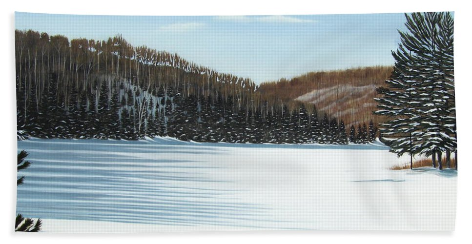 Landscapes Hand Towel featuring the painting Winter On An Ontario Lake by Kenneth M Kirsch