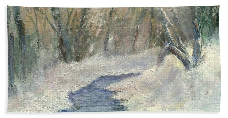 Snow Hand Towel featuring the painting Winter On Stormcreek by Gail Kirtz