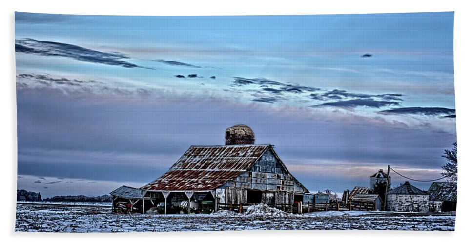 Barn Bath Sheet featuring the photograph Winter On The Farm by Bonfire Photography
