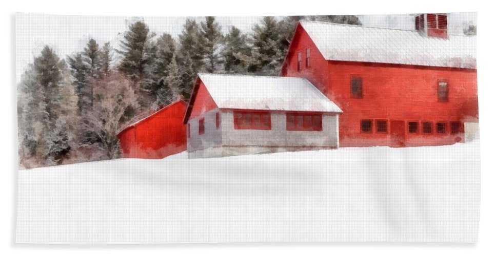 New England Hand Towel featuring the photograph Winter On The Farm Enfield by Edward Fielding