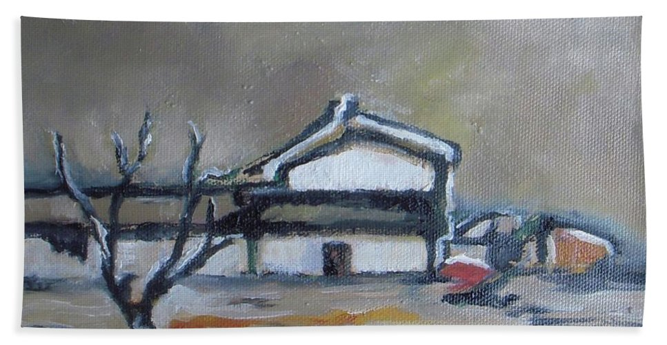 Winter Bath Sheet featuring the painting Winter On The Farm by Vesna Antic