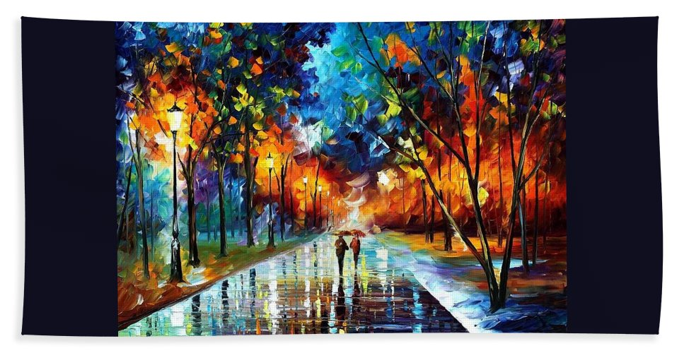 Afremov Hand Towel featuring the painting Winter Park by Leonid Afremov