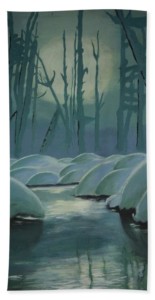 River Hand Towel featuring the painting Winter Quiet by Jacqueline Athmann