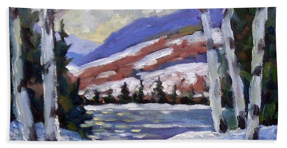 Art Bath Towel featuring the painting Winter Reflections by Richard T Pranke