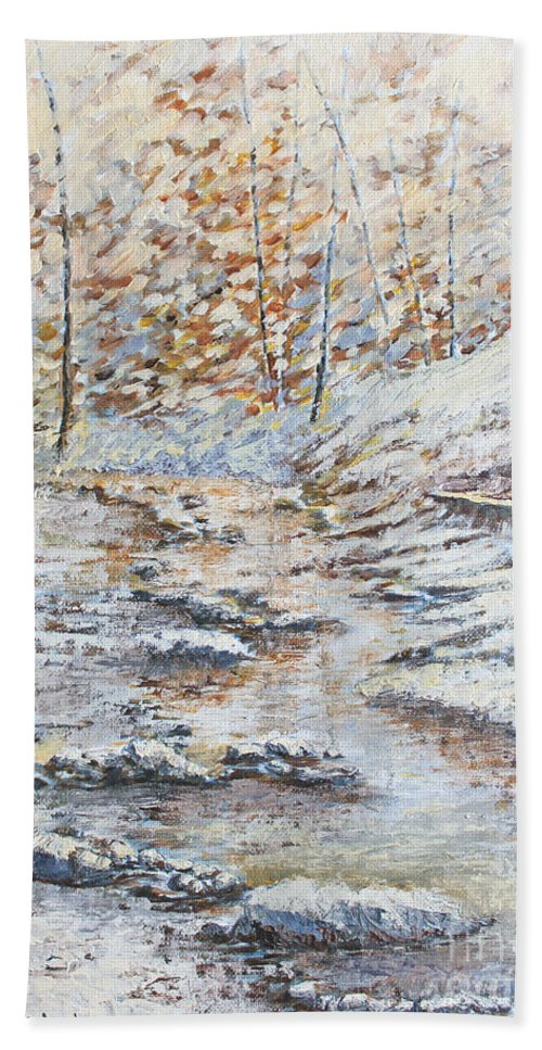 Landscape Hand Towel featuring the painting Winter River by Todd A Blanchard
