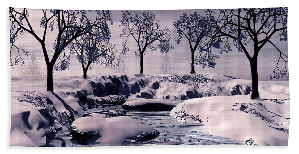Winter Hand Towel featuring the digital art Winter Scene by John Junek