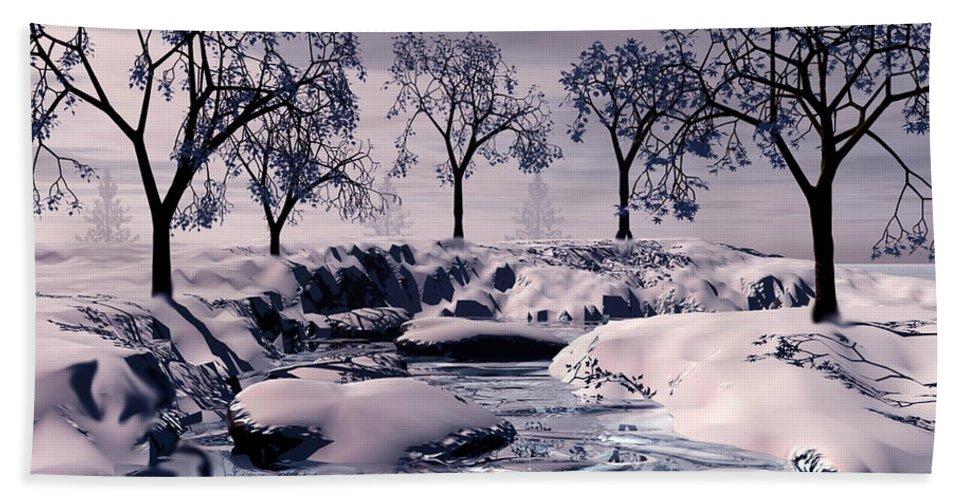 Winter Bath Towel featuring the digital art Winter Scene by John Junek