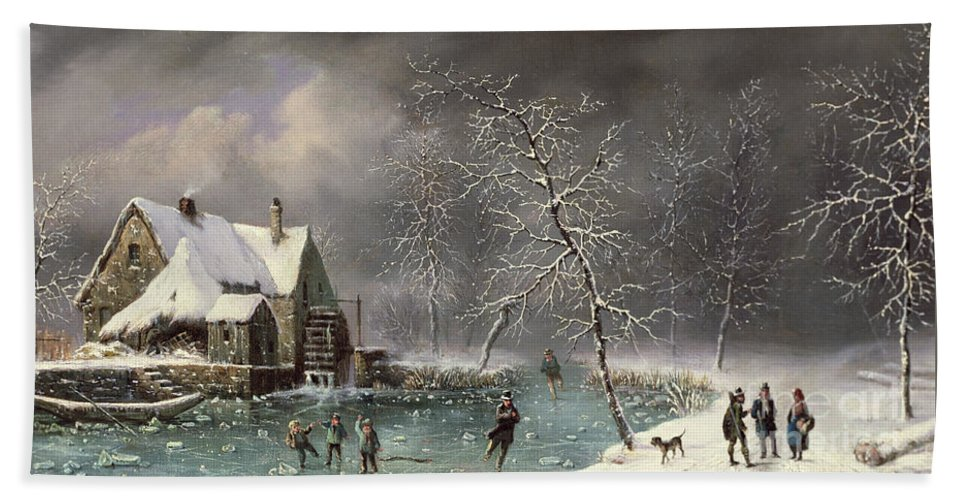 Winter Scene By Louis Claude Mallebranche (1790-1838) Hand Towel featuring the painting Winter Scene by Louis Claude Mallebranche