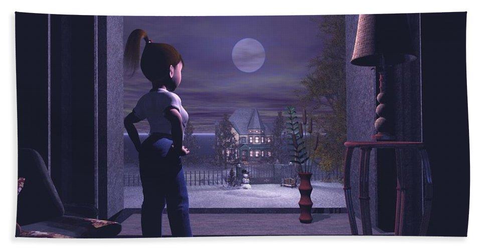 Winter Scene Threw A Window Hand Towel featuring the digital art Winter Scene Threw A Window by John Junek