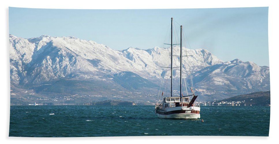 Yacht Hand Towel featuring the photograph Winter Sea by Marina Andrejchenko