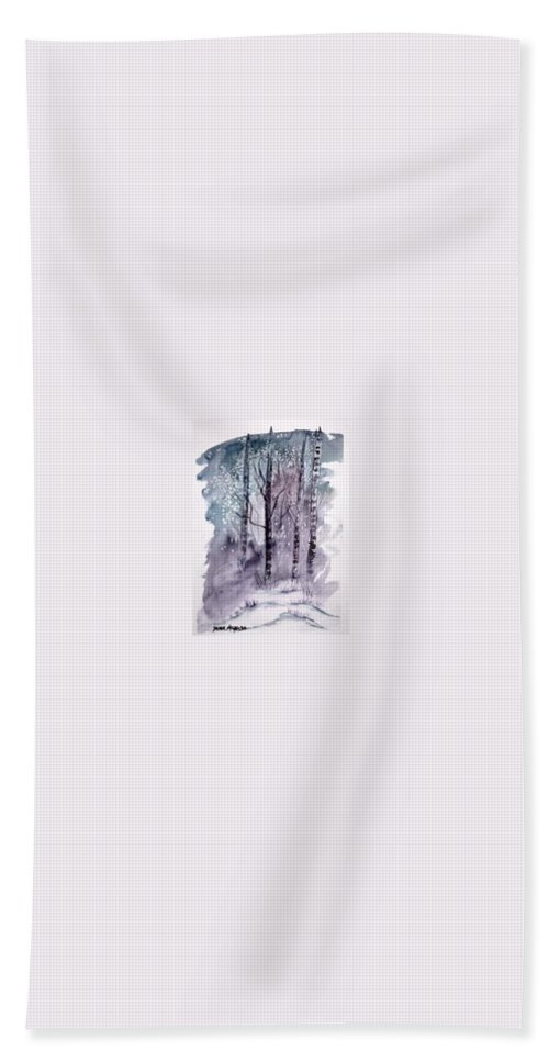 Watercolor Landscape Painting Hand Towel featuring the painting Winter Snow Landscape Painting Print by Derek Mccrea