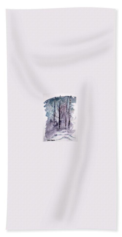 Watercolor Landscape Painting Bath Towel featuring the painting WINTER snow landscape painting print by Derek Mccrea