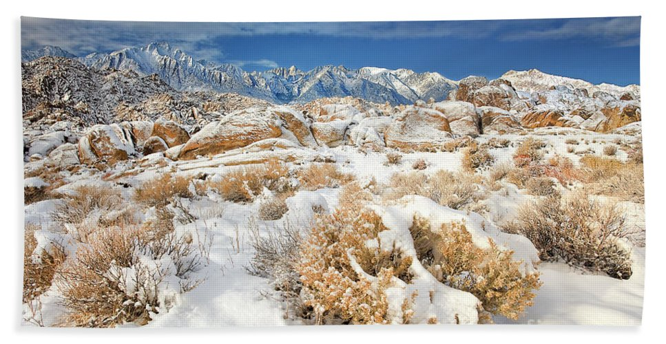 North America Landscape Bath Sheet featuring the photograph Winter Snowstorm Blankets The Alabama Hills California by Dave Welling