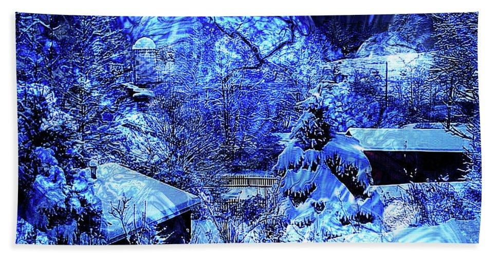Blue Bath Sheet featuring the digital art Winter Solace by Robert Orinski