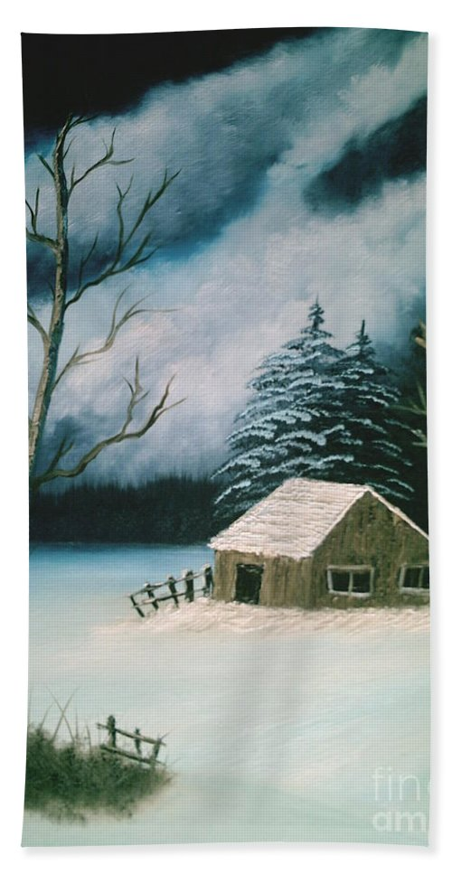 Winter Landscape Hand Towel featuring the painting Winter Solitude by Jim Saltis
