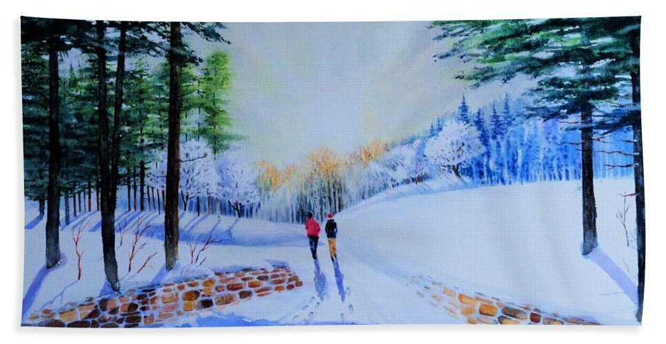 Winter Bath Sheet featuring the painting Winter Sonnet by Tom Harris