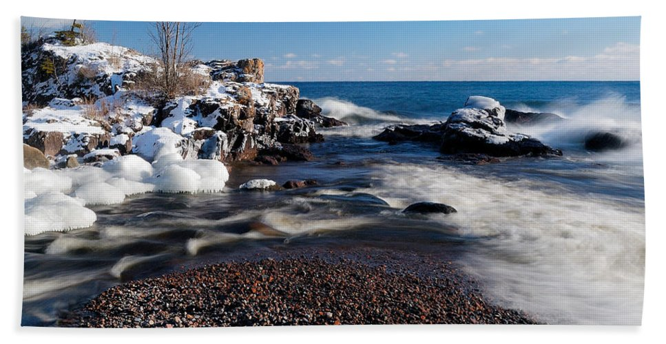 Michigan Hand Towel featuring the photograph Winter Splash by Sebastian Musial