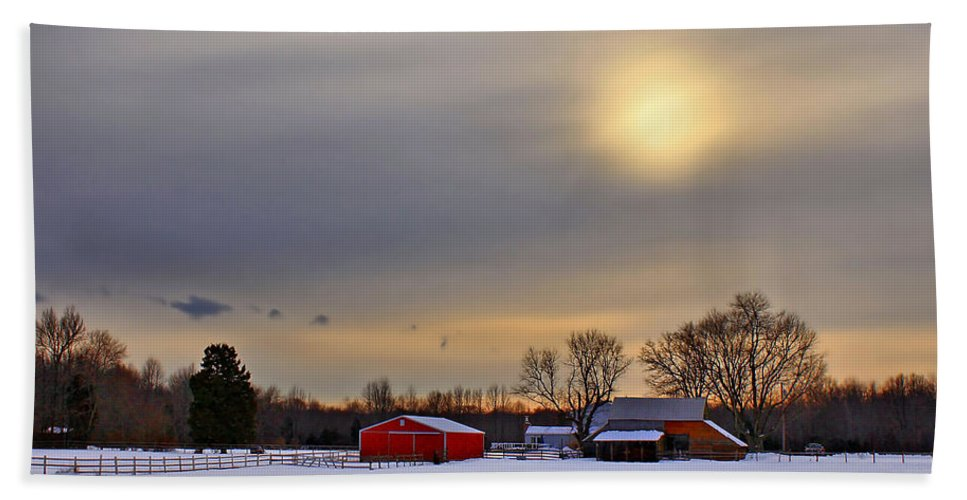 Barn Hand Towel featuring the photograph Winter Sun by Evelina Kremsdorf