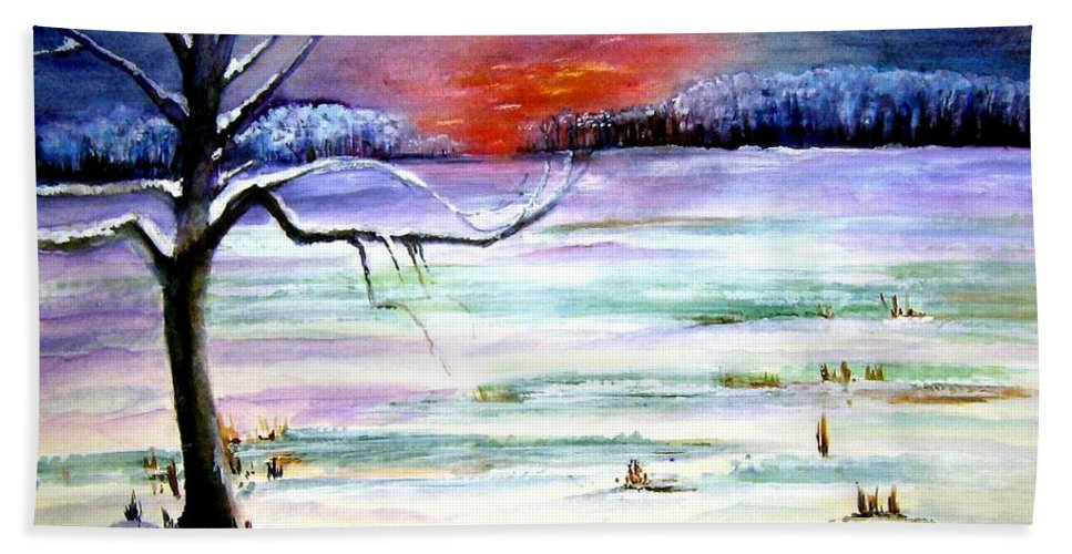 Ice Hand Towel featuring the painting Winter Sun by Sandy Ryan