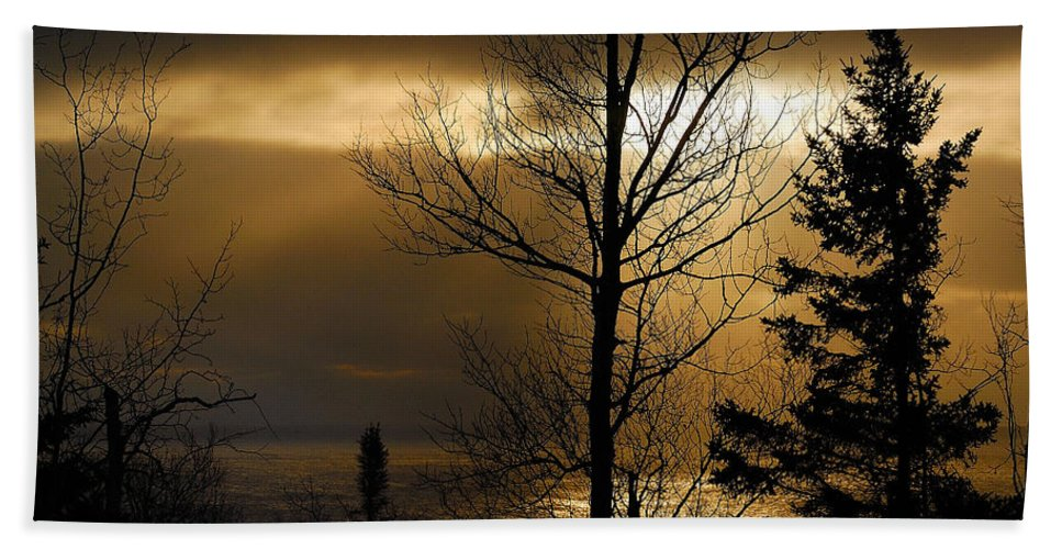 Nature Bath Sheet featuring the photograph Winter Sunrise 1 by Sebastian Musial