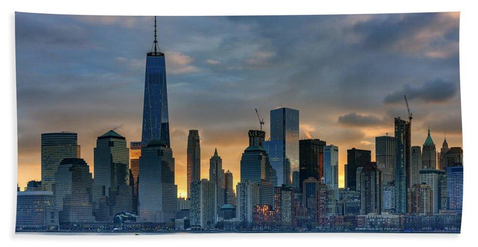Manhattan Bath Sheet featuring the photograph Winter Sunrise New York City by Rick Berk