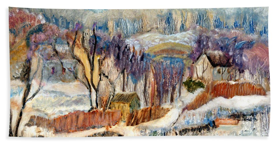 Impressionist Bath Sheet featuring the painting Winter Sunrise by Pamela Parsons
