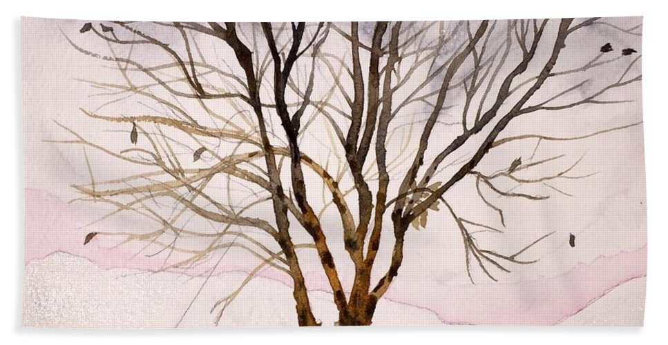 River Birch Hand Towel featuring the painting Winter Sunrise by Sonja Jones