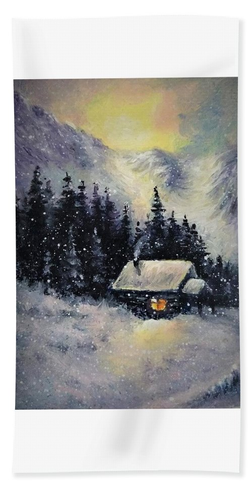 Winter Bath Towel featuring the painting Winter sunset aceo painting by Natalja Picugina