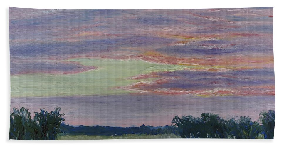 Sunset Hand Towel featuring the painting Winter Sunset by Lea Novak