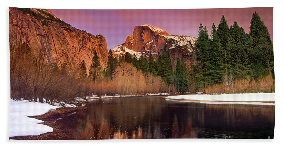 North America Bath Towel featuring the photograph Winter Sunset Lights Up Half Dome Yosemite National Park by Dave Welling