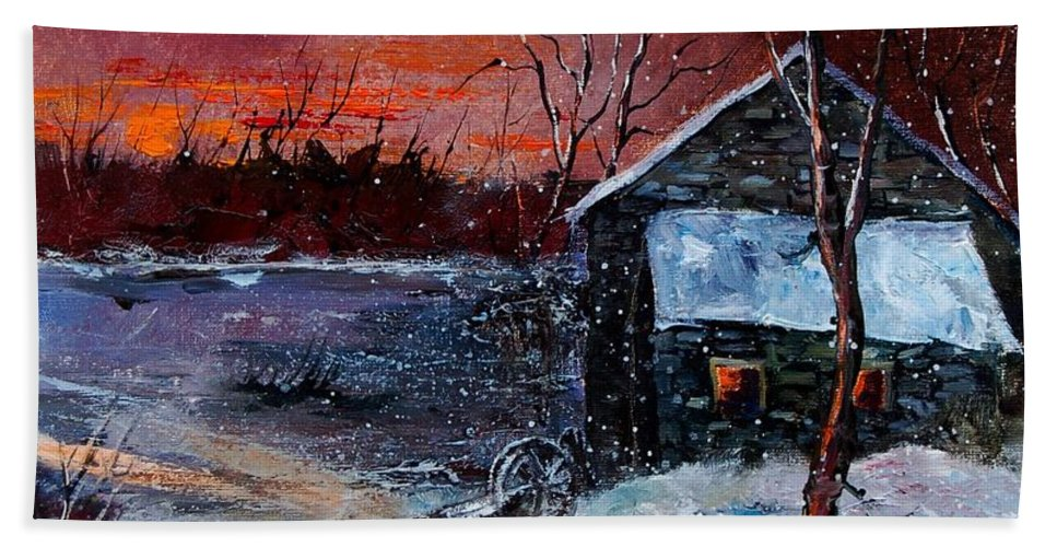 Winter Hand Towel featuring the painting Winter Sunset by Pol Ledent