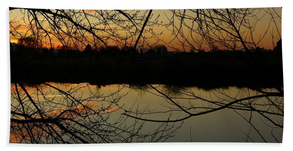 Sunset Hand Towel featuring the photograph Winter Sunset Reflection by Carol Groenen