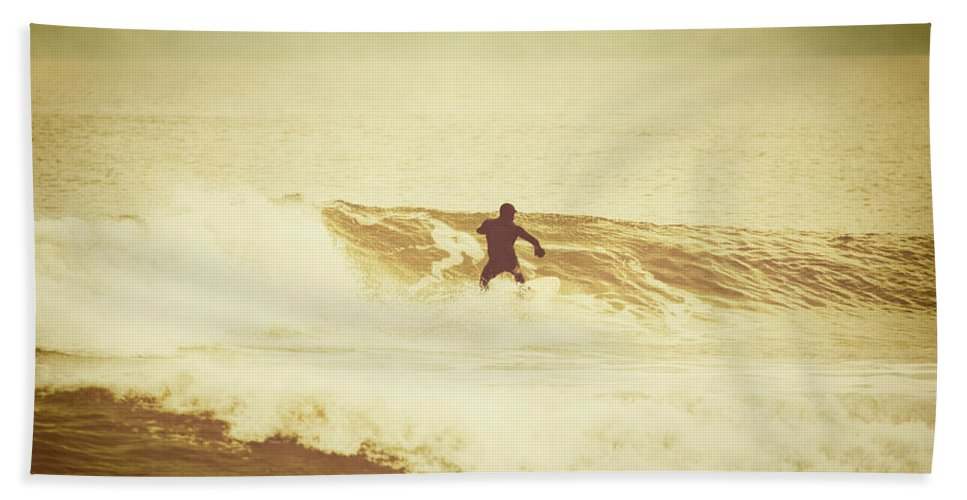 Atlantic Bath Sheet featuring the photograph Winter Surfing At Casino Pier by Erin Cadigan