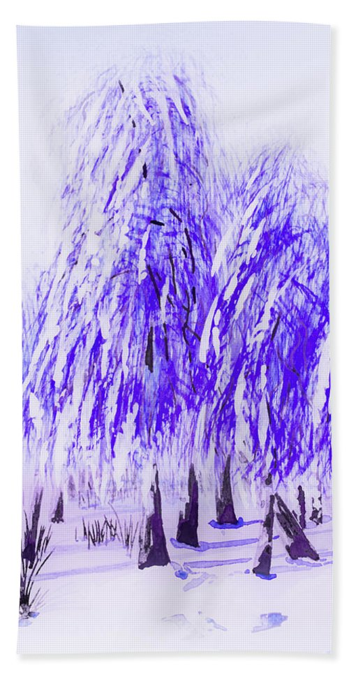Winter Hand Towel featuring the painting Winter by Svetlana Sewell